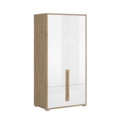 LUCAS шафа 4d білий lakier глянець / дуб кам'яний