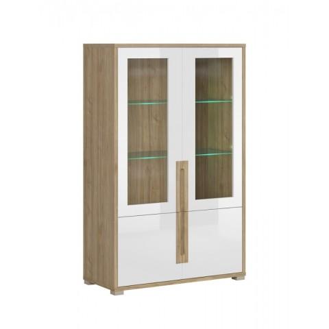 LUCAS витрина 2d2w белый lakier глянец / дуб каменный
