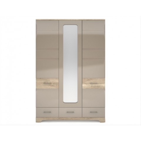 MULATTO шкаф с зеркалом 3d3s дуб canyon / капуччино глянец